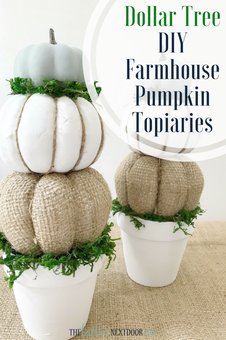 Diy Farmhouse Pumpkin Topiaries The Latina Next Door